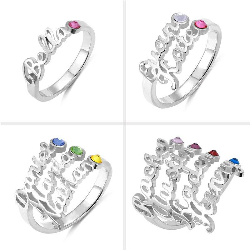 AILIN personnaliser nom anneaux avec pierre de naissance personnalisé nom anneaux en argent Sterling anneaux bijoux pour femmes nom de famille anneaux