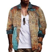 fashion map 3d-printed slim fit dress shirt men eu size 3xl casual long sleeve cotton