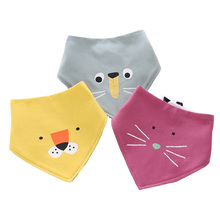 Cotton baby double-sided available triangle towel Baby cute animal modeling saliva Childrens bib newborn