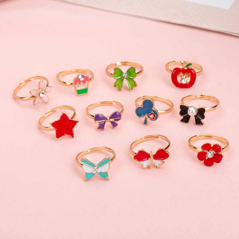10 ชิ้น/ล็อตรักเด็กน่ารักหวานแหวนออกแบบดอกไม้แฟชั่นเครื่องประดับอุปกรณ์เสริมเด็กของขวัญแหวน FS114