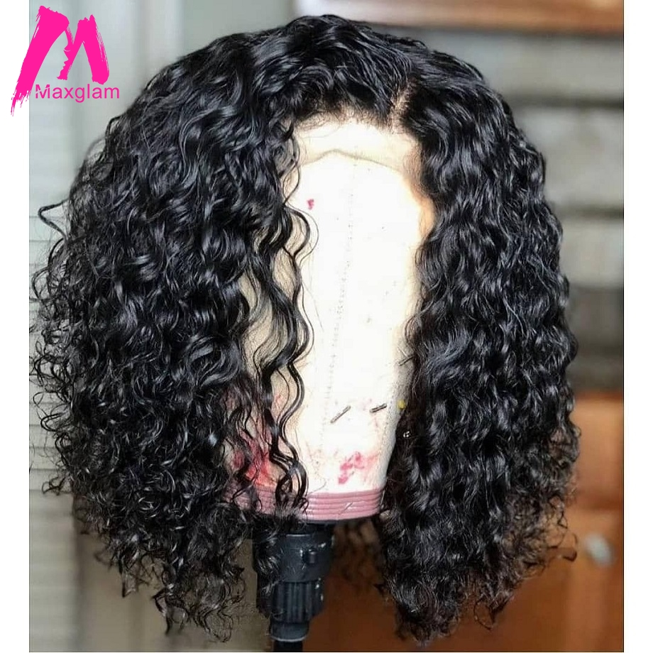 Short Lace Front Human Hair Wigs Brazilian Water Wave Bob Wig Natural Long Remy Hair Pre Plucked Glueless For Black Women Full