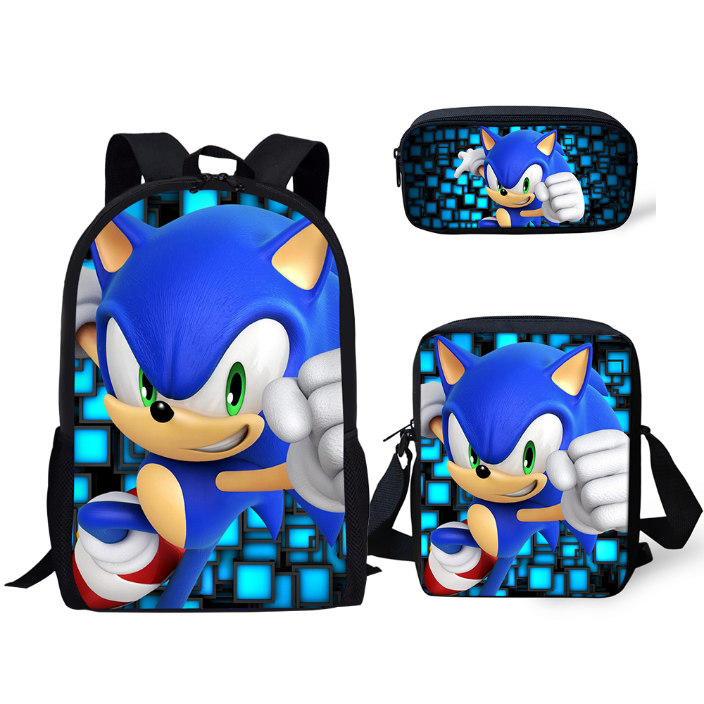 16 Inch  Fashion Backpack Sonic The Hedgehog Pattern 3PCs/Set Kids School Bags Cartoon Animal Designer Teenagers Book-Bags Set