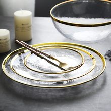1pc/lot Hand-gilded European Glass Gold Inlay Dishes Steak Plate Salad Soup Bowl Dishes Party Event Decoration Tableware Set