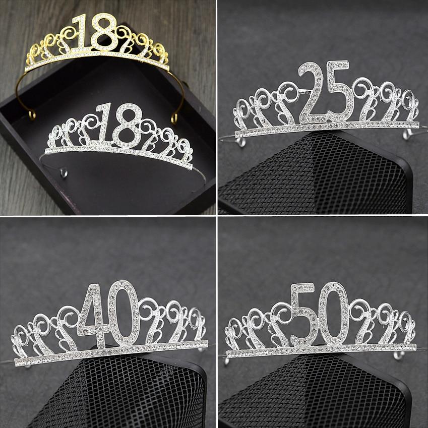 18 Years Old Rhinestone Tiaras Headbands For Birthday Crown Cake Prom Party 25 40 50 60 Bridal Wedding Hair Jewelry