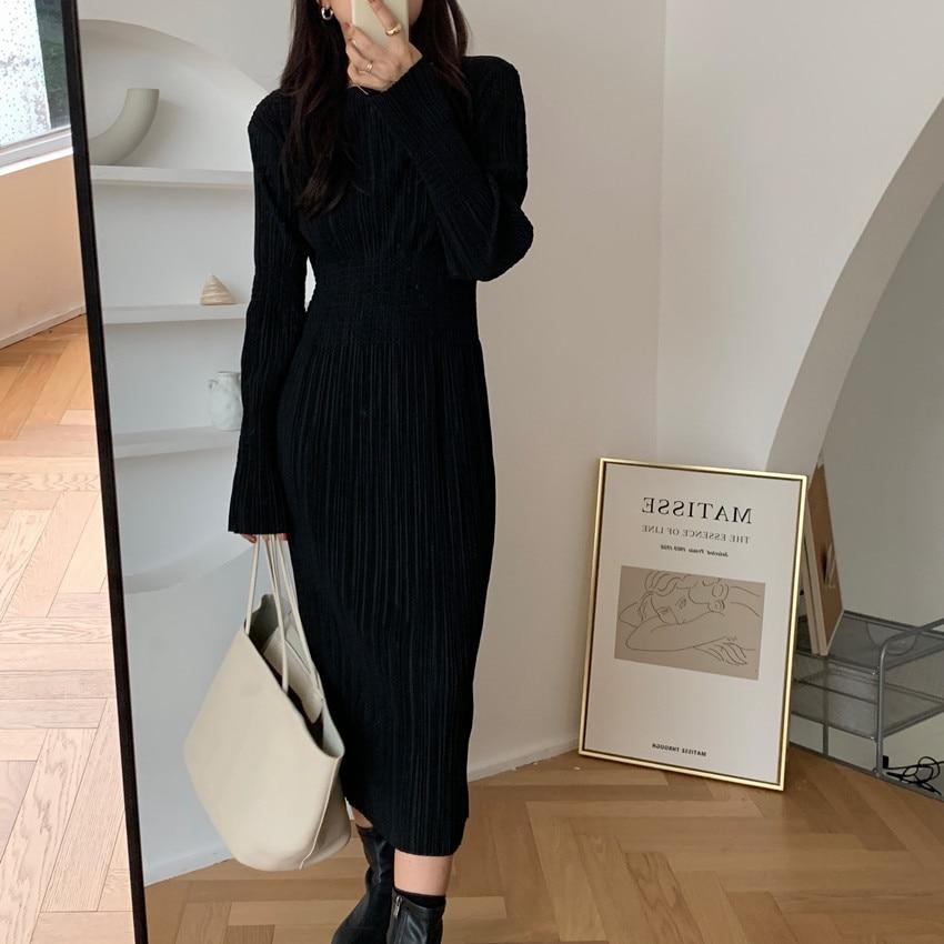 Hc631dc4995e34fbb9965b6f947270167I - Autumn O-Neck Long Sleeves Pleated Black Midi Dress