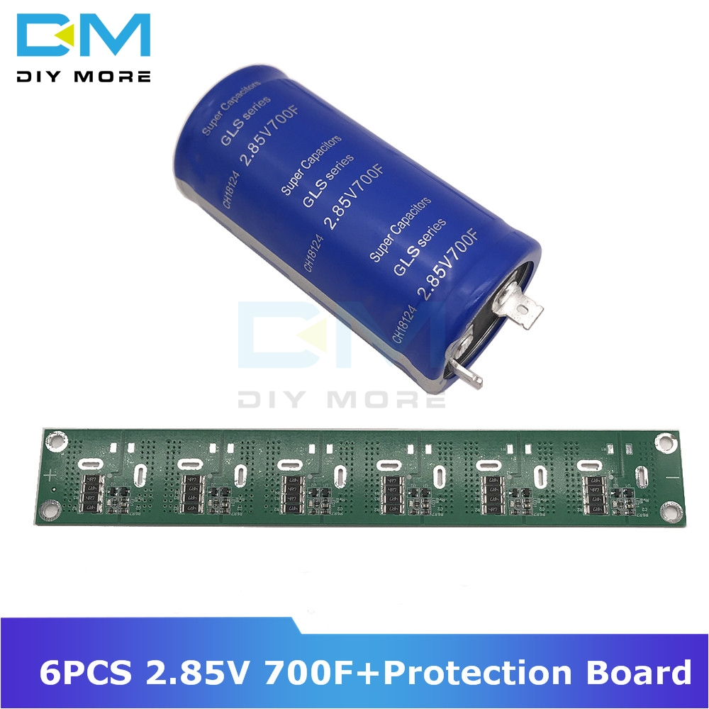 6PCS Super Farad Capacitor 2.85V 700F 35*72mm Vehicle Rectifier High Frequency Low ESR+Ultracapacitor Balancing Protection Board