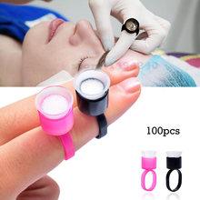 Porte-outils de tatouage avec éponge, gobelets à encre, capuchon à colle, pour pigment au micro-ondes, fournitures d'accessoires de maquillage permanent, 100 pièces
