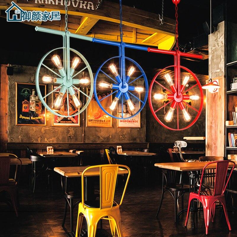 Loft rétro industriel vent personnalité Restaurant barre américain pays fer barre Art couleur roue lustre luminaria pendente