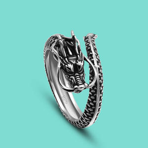 Chinese Style Vintage 925 Sterling Silver Ring Special Dragon Ring 100% Original Silver Ring Open Free Adjustment Fine Jewelry