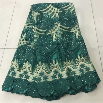Most popular dark green French net lace fabric with embroidery tulle lace fabric with rhinestones ZQN256(5yards/lot)