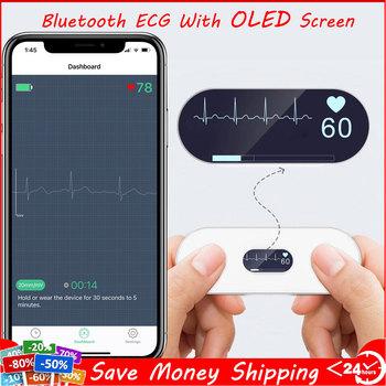 Bluetooth EKG Holter EKG z ekranem OLED poręczny EKG serce монитор elektrokardiograma nieograniczony przechowywanie danych w sklepie udostępnij tanie i dobre opinie schbit CHINA 3 6 x 1 3 x 0 3 DuoEK Elektroniczne urządzenie do pomiaru tętna Dla palców Bluetooth ECG Monitoring