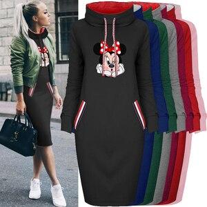 2020 Women Dress Cartoon Mouse Print Fake Pocket Long Sleeve Collar Vintage Casual Bodycon Dress Woman Dresses Vestidos Robes