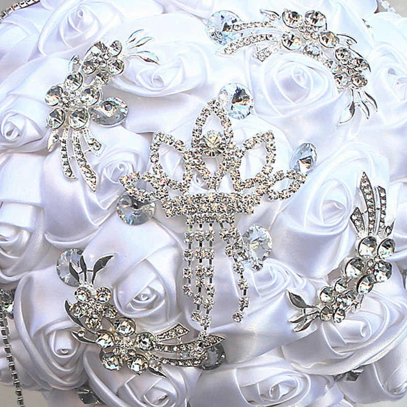 Wifelai-Warna Putih Bunga Buatan Tangan Bunga Pernikahan Karangan Bunga Pengantin Berlian Imitasi Buket Pengiring Pengantin Buque Noiva W2218