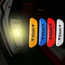 Open reflective car stickers traffic safety warning stickers door opening decoration 4 pieces цена