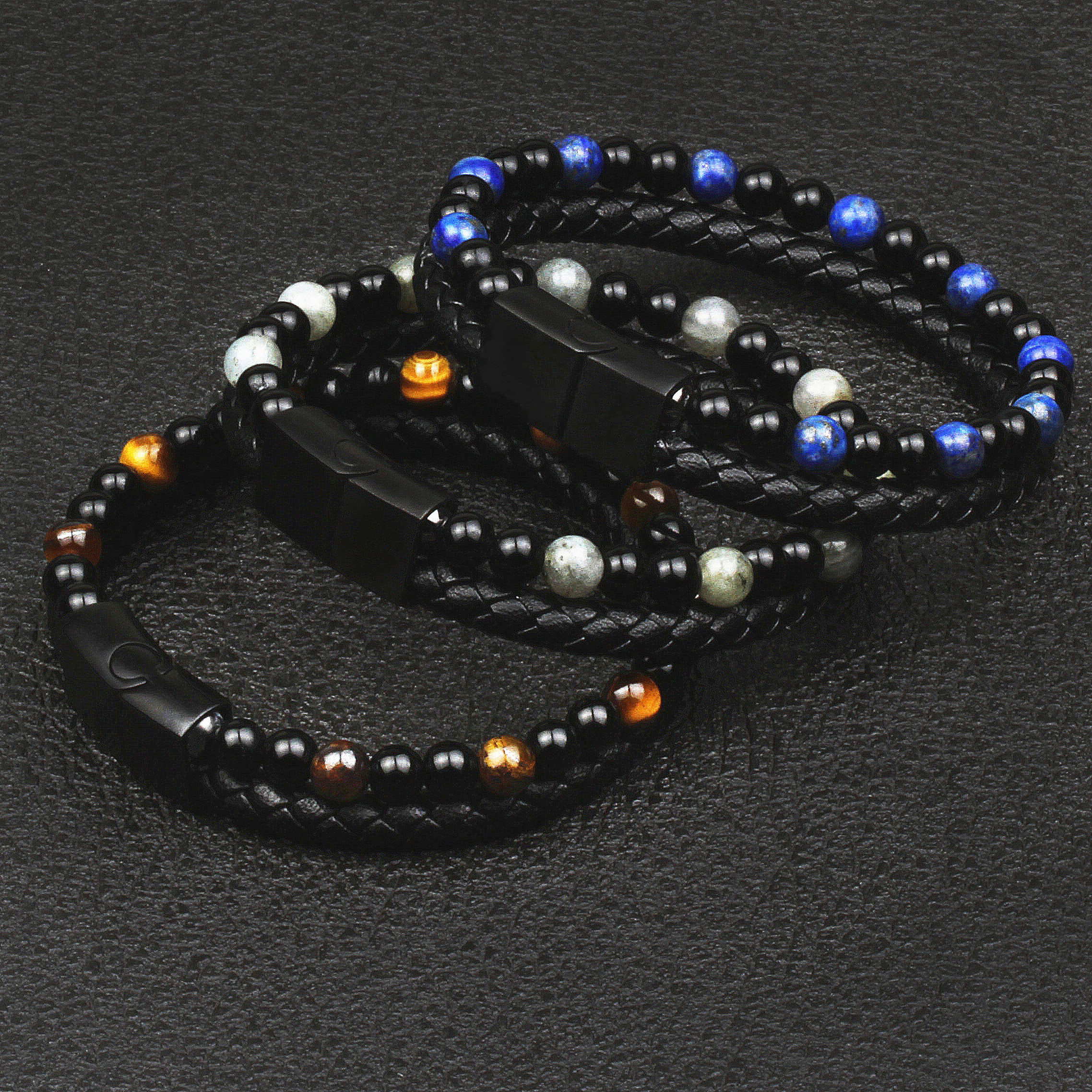 Fashion Natural Stone Genuine Leather Bracelet Men Black Stainless Steel Magnetic Clasp Tiger Eye Beads Charm Bracelets Jewelry