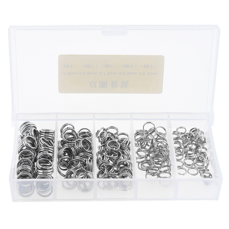 250Pcs Stainless Steel Double Loop Fishing Ring Split Clip Swivel Quick Change Hook Connector Fishing Lure Bait Tool With Box