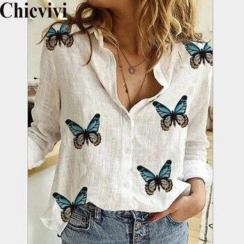 Blusas de mariposas para mujer, Tops de otoño, camisas blancas de ocio, cárdigan con cuello en V y botones, blusa holgada de manga larga de gran tamaño