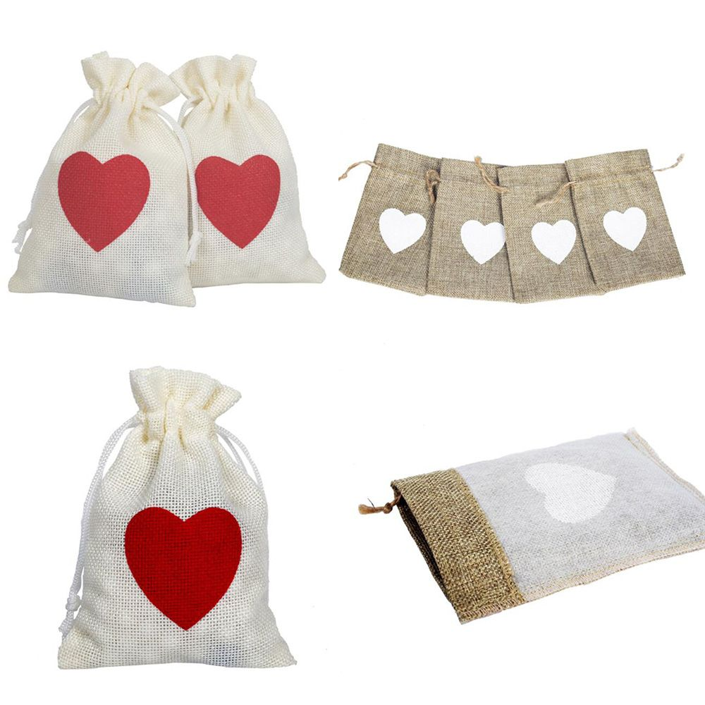 Drawstring Heart Pattern Gift Bag Cotton Linen Dice Tarot Card Toy Jewelry Practical Storage Bag For Party Board Game Supplies