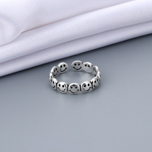 New Funny Silver Color Happy Smiling Face Open Rings for Women Punk Hip Hop Adjustable Ring Fashion Jewelry for Women
