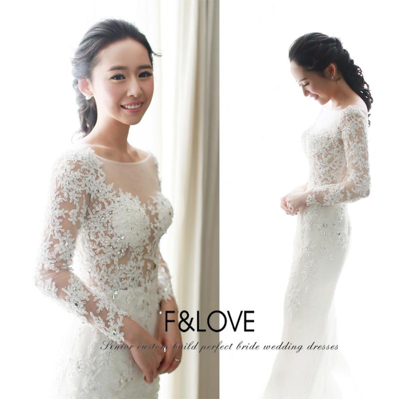 Vestido De Noiva 2015 new sexy see through long sleeve lace appliques crystal mermaid Vintage Wedding Dress bridal Dresses
