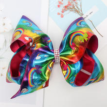 7 Inch jojo siwa Bows for Girls Gradient Rainbow Hairgrips Leather JOJO BOWS Kids Handmade Dance Party Headwear