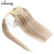 Isheeny Blonde Ponytail Human Hair Extensions 14 18 20 24 Inch Remy Brazilian Hair Extensions Clip Ins Natural Black Brown Color