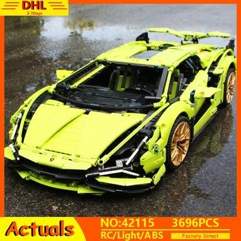цена на New Technic Lamborghinis RC Car SIAN FKP37 Roadster Model Building Blocks Bricks Compatible With lEGOED 42115 Toys Children Gift