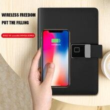 Fingerprint password lock wireless charging notepad multi-function notebook with U disk business gift smart notebook