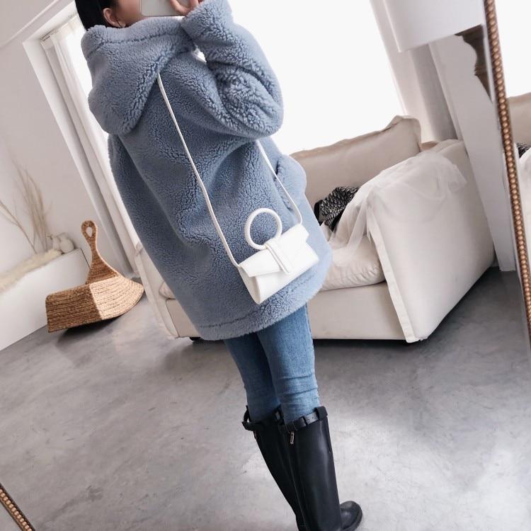 Осень зима 2019, женские корейские колледжа, шерсть, крупные частицы, овечья шерсть, шапка, угловая пуговица, пальто ежедневный пиджак - 3