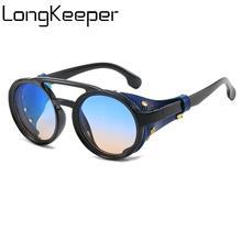 LongKeeper Retro Steampunk Round Sunglasses Men Stylish Leather With Side