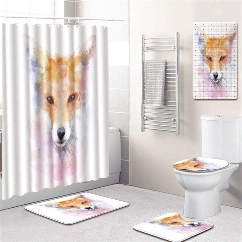 3D Животный Единорог принт ванная комната занавеска для душа водонепроницаемый полиэстер ПВХ нескользящий коврик для унитаза коврик для ва... - 3