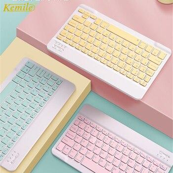 Colorido ratón con teclado ruso español para Tablet Samsung Android para iPad 9,7, 10,5, para tablet samsung, teclado Bluetooth con ratón