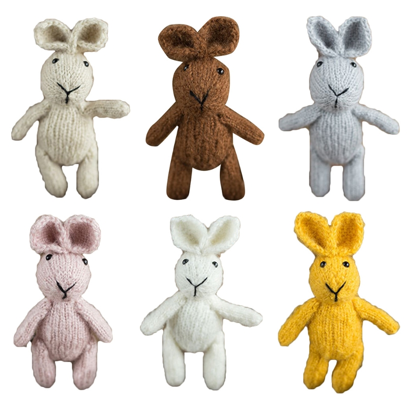 Cute Crochet Knitted Rabbit Doll Toy Handmade Infants Photo Shooting Newborn Baby Photography Props