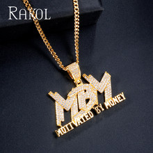 RAKOL Hip Hop Necklace Gold Color Micro Pave Cubic Zircon Letter Chain Pendant Charm For Men Jewelry Gifts RN21371