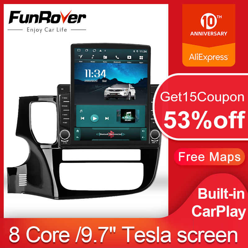 "Funrover 2.5D Ips 9.7 ""Tesla 2 Din Android 9.0 Auto Radio Multimedia Video Player Voor Mitsubishi Outlander 3 2012-2018 Gps Geen Dvd"