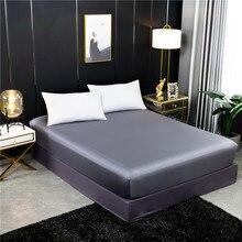 Capa de colchão de seda de amoreira natural capa de colchão de luxo cor sólida dupla rainha tamanho de seda real elástico folha de cama
