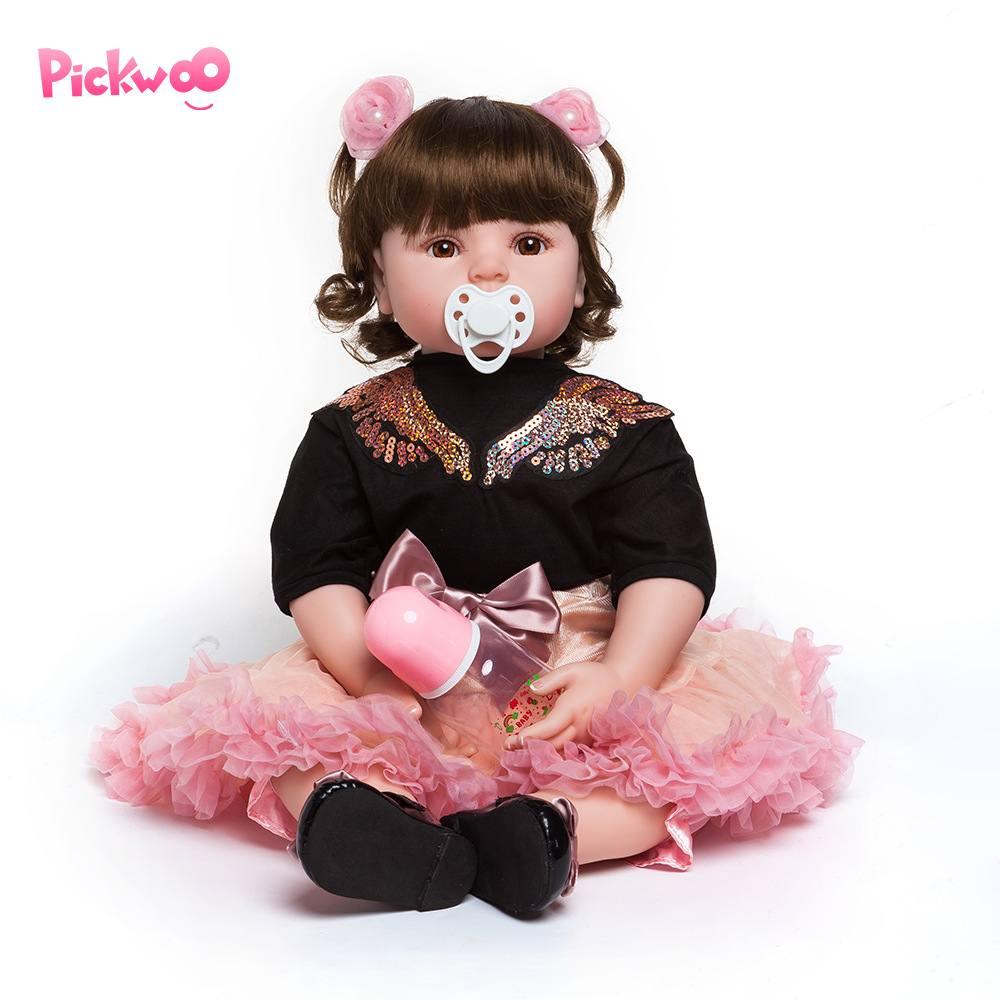Pickwoo 18 Inch 48cm Bebes Reborn Doll Baby Girl Dolls Soft Silicone Boneca Reborn Brinquedos Bonecas Children's Day Gifts Toys