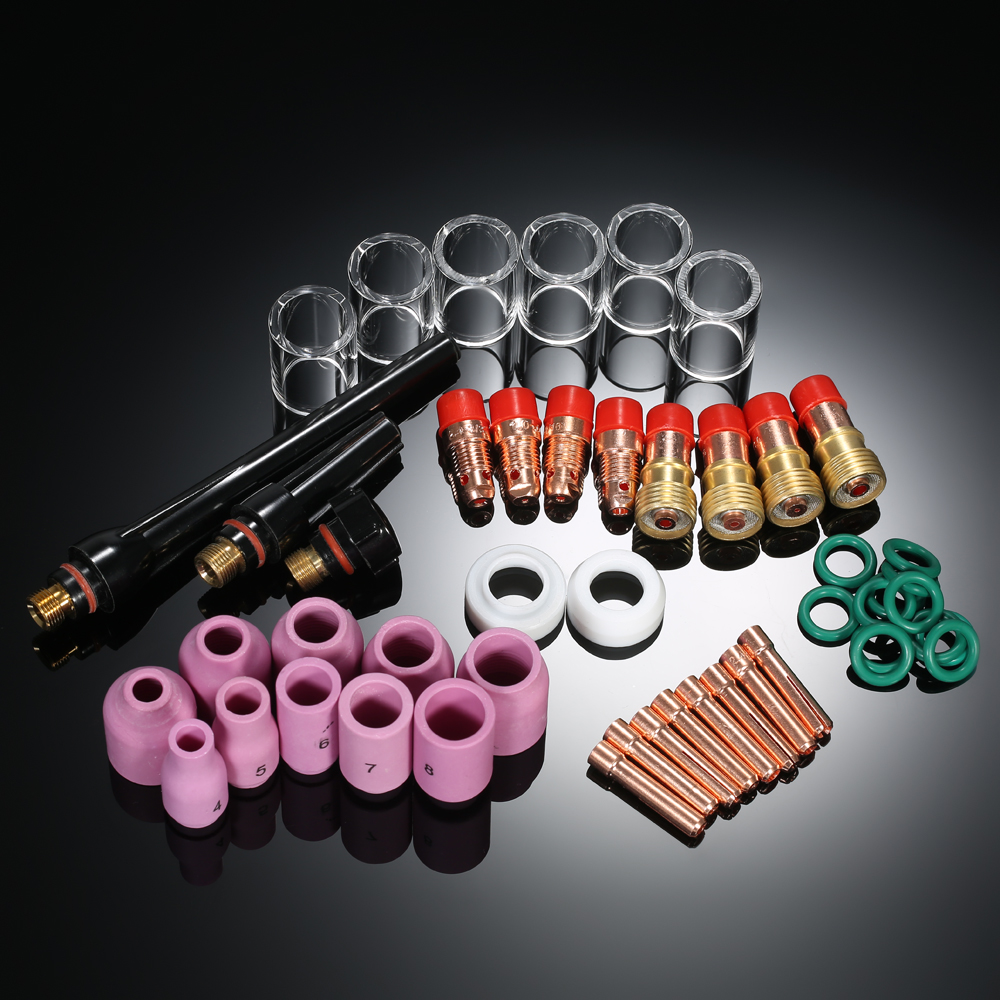 49PCS TIG Welding Torch Stubby Gas Lens #10 Glass Cup Kit for WP-17/18/26