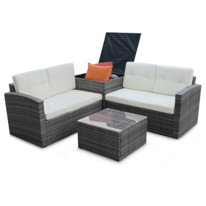 4-Piece Patio Sofa Set For Garden Out Doors High Quality PE Rattan Wicker Cushion Box Seats Sofa