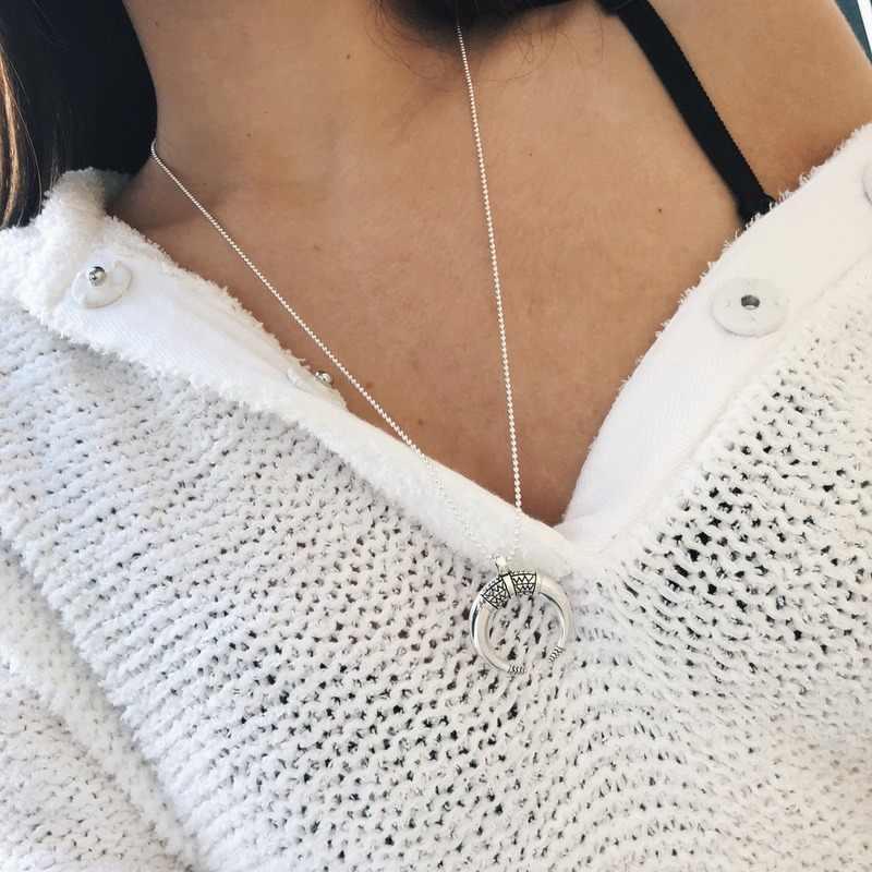 Colares para mulheres, joias charmosas corrente colar pingente de lua para mulheres amantes de alta qualidade cor prata colar de liga de zinco na moda