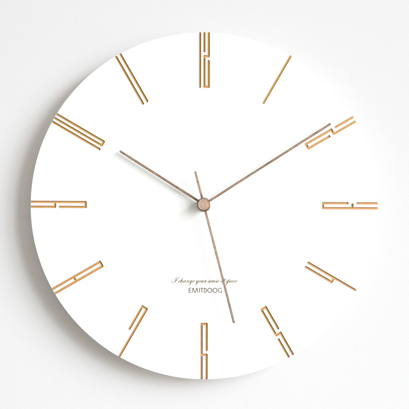 Wooden Wall Clock Modern Design Creative Personality Nordic Style Pine Wood Clocks White Wall Watch Home Decor Silent 12 Inch