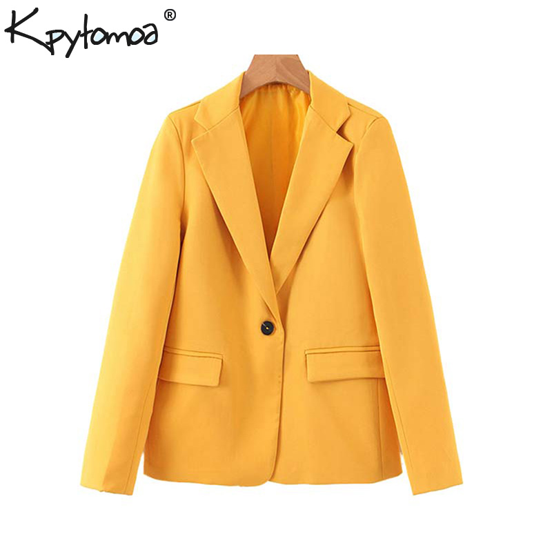 Vintage Stylish Office Lady Pockets Blazers Coat Women 2020 Fashion Notched Collar Long Sleeve Ladies Outerwear Chaqueta Mujer