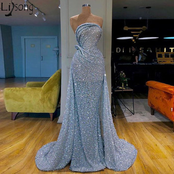 Blue Sequins Overskirts Formal Evening Dress Mermaid Strapless Arabic Women Prom Dresses Pageant Birthday Party Gowns Plus Size