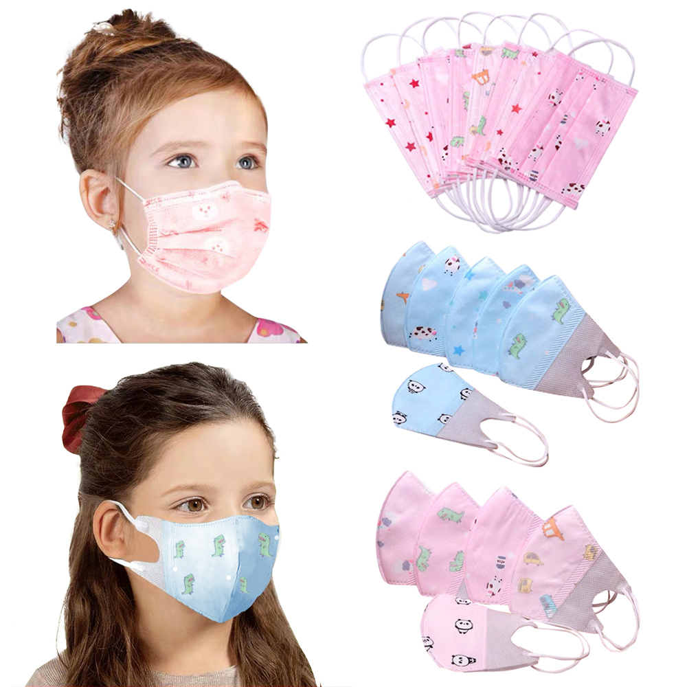 Disposable Child Face Mask 3 Layer Respirator Boys Non-Woven Masks Kids Cartoon Mouth Mask Anti Pollution Girls Print Face Masks