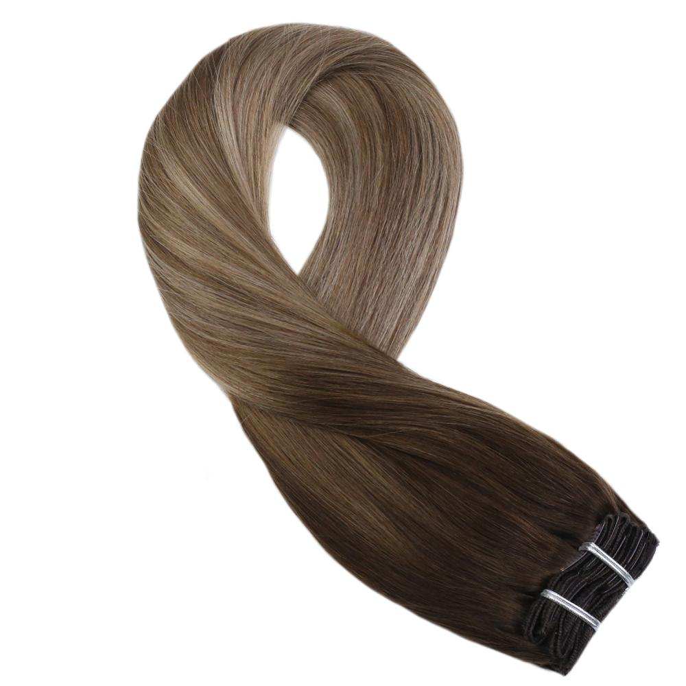 Moresoo Clip In Hair Extension Dark Brown #4 Mixes With Brown #10 Golden Blonde #16 Remy Brazilian Human Hair 5Pcs 70G 12-14inch