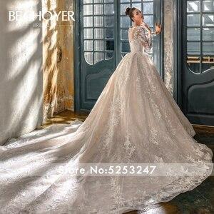 Image 2 - 高級長袖アップリケウェディングドレスbechoyer N201恋人夜会服のチャペルの列車の王女の花嫁ドレスvestidoデnoiva