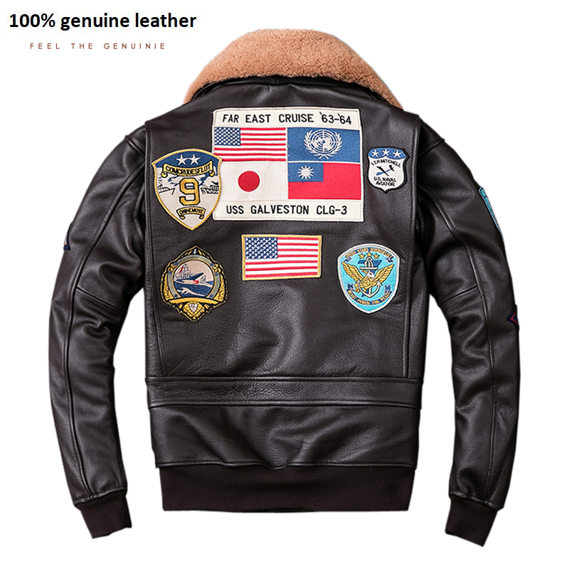 Air Force G1 Flight Jacket Thickening Quilted Jacket Top Layer Calfskin Leather Jacket Men Coat Winter Jackets M212