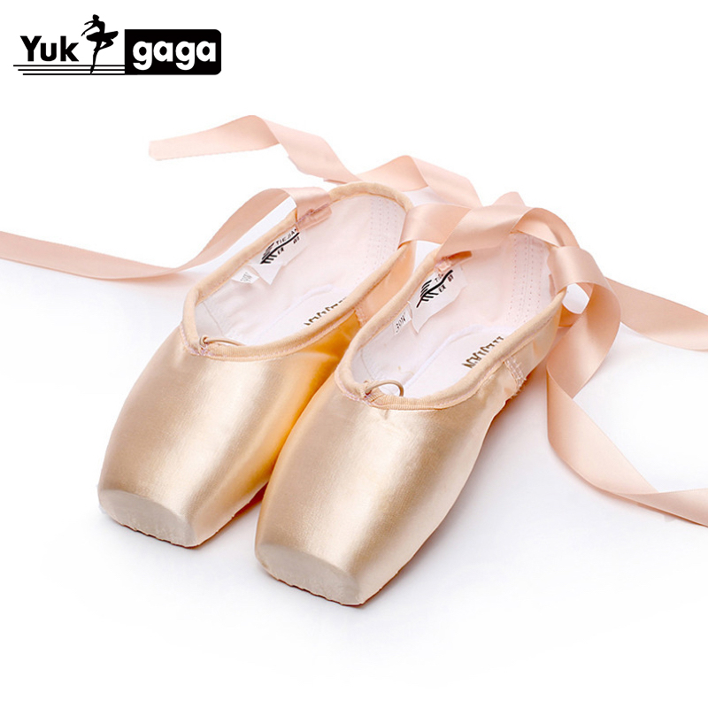 Adult Kids Ballet Pointe Shoes Nude/Black/Red Satin Girls Women Professional Dance Shoes With Ribbons Silicone Toe Pad