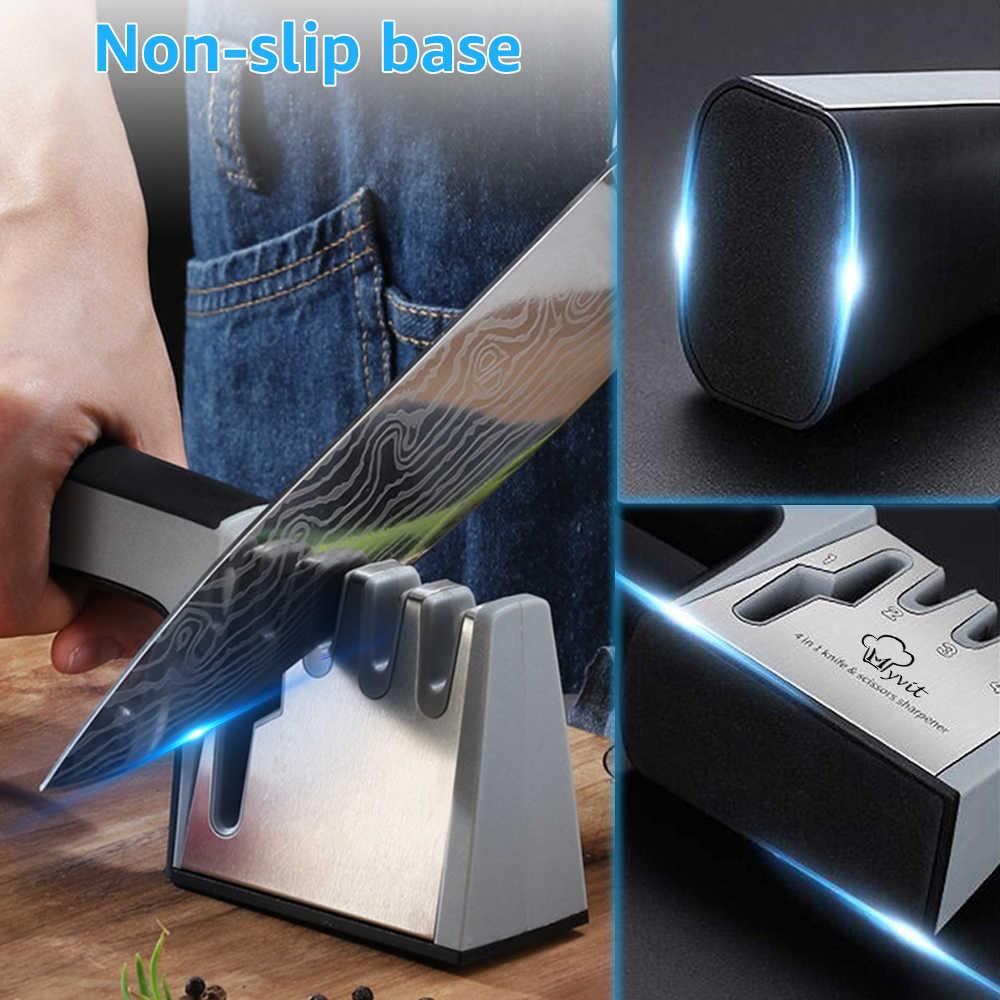 Myvit sharpener de faca 4 em 1 diamante revestido & haste fina faca tesouras e tesoura sistema afiação lâminas aço inoxidável