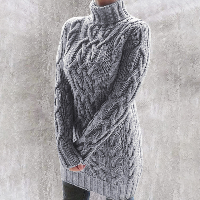 Gray Oversized Turtleneck Sweater Dress Women Warm Autumn and Winter Clothes Knit 5XL Plus Size Pullover Sweaters Mujer 2020